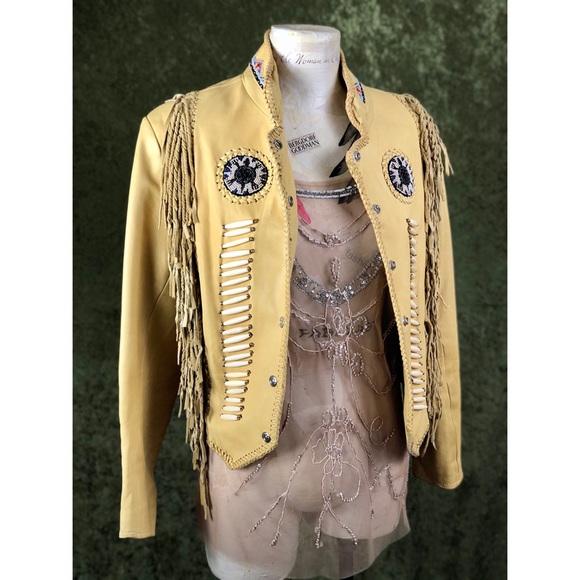 Vintage Jackets & Blazers - VINTAGE🎄Early 2000s Vance Leathers beaded jacket